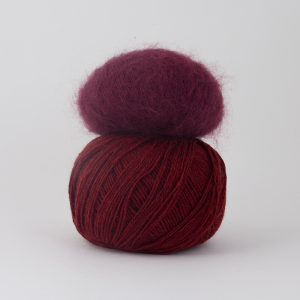 Pickles Pure Wool - Tranebær og Pickles Silk Mohair - Chianti