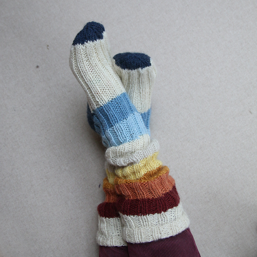 Stripe-on-stripe-socks-Knitted socks with colourful stripes.