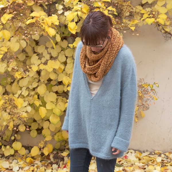 Mellow V Sweater - a loose-fitting knitted sweater in soft angora yarn