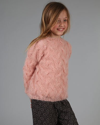 Fuzzy Cable sweater is a dream of a fluffy hand knit sweater for girls.