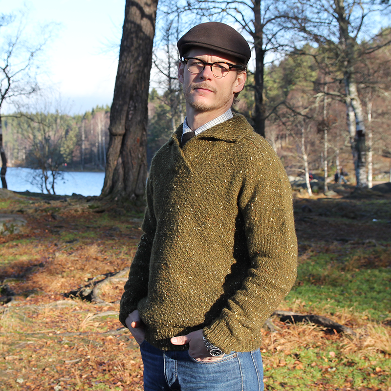 Into the Woods Sweater genser -Warm sweater for men with a refined shawl collar