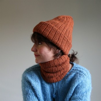 Twice as rib neck warmer and hat